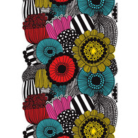Home Decor: Marimekko Siirtolapuutarha wallpaper mural in white, yellow, red, black | Marimekko Store