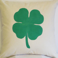 "Pillow Covers 18"" - Handpainted St. Patrick's Day Green Clover Pattern"