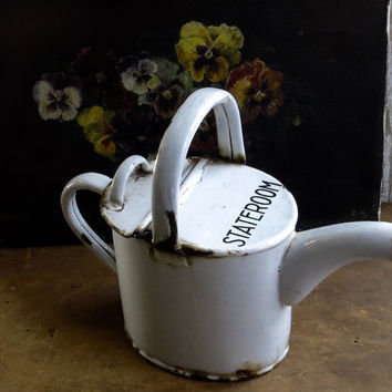 Antique Enamel Watering Can, White Enamelware, Graniteware, Ship Stateroom Bathing Pitcher, Water Carrier, Cottage Garden Decor