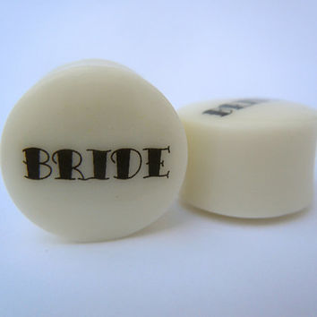 "Organic Bone Plugs / Gauges. Bride Wedding. 4g / 5mm, 2g / 6mm, 0g / 8mm, 00g / 10mm, 1/2"" / 12mm, 9/16"" / 14mm, 5/8"" / 16mm, 3/4"" / 19mm"