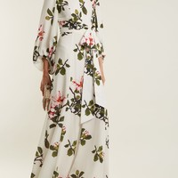 Blossom-print puff-sleeved silk gown | Andrew Gn | MATCHESFASHION.COM UK