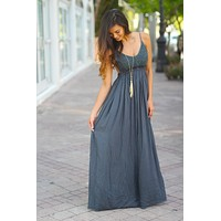 Midnight Navy Lace Maxi Dress With Open Back and Frayed Hem