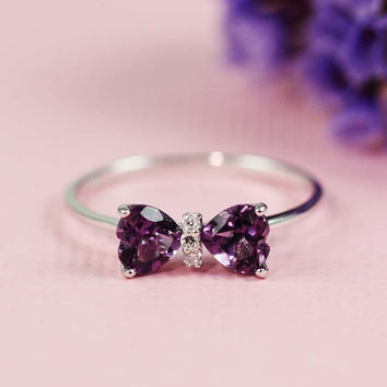 Silver Amethyst & White CZ Bow Ring by tooriginal on Etsy