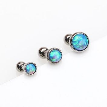 3 Pcs of Assorted Size Fire Opal Top Cartilage Tragus Barbell Stud Pack