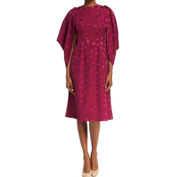 Co Collection Cocoon-Sleeve Mosaic Jacquard Midi Dress