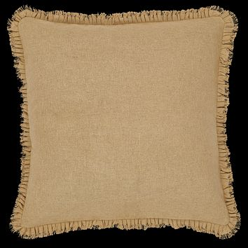 Burlap Natural Ruffled Fringed Pillow