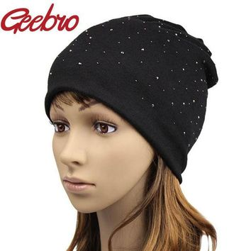 PEAPUNT Geebro Solid Autumn Winter Women Knitted Hat Girls Warm Rhinestone Sequins Diamond Cap Female Slouchy Beanies & Skullies JS254