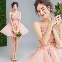 Cute pink flower full net party dress wedding dress homecoming dress