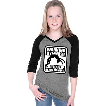 Girls Gymnastics T-shirt Warning Gymnast V-Neck Raglan