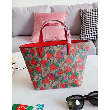 Gucci Popular Women Leather Print Shopping Tote Handbag Shoulder Bag 3#