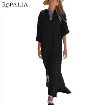 ROPALIA Women Plus Size Kaftan Vestidos Summer Vintage Linen Dress Sexy Deep V-Neck Dress Long Sleeve Split Long Maxi Dress