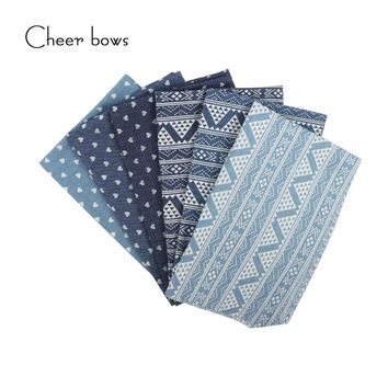 40*50CM Cotton Denim Fabric Heart Geometry Printed Clothes DIY bags Materials Apparel Sewing Accessories For Tissue Kids Bedding