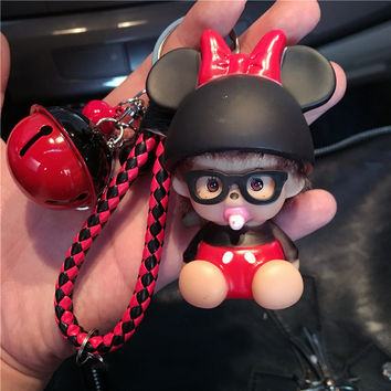 Cute Mickey Minnie Mouse Bell Decoration Monchichi Key Chain Sleutelhanger Keychain keyring Kiki Women Bag Charm Porte Clef M191