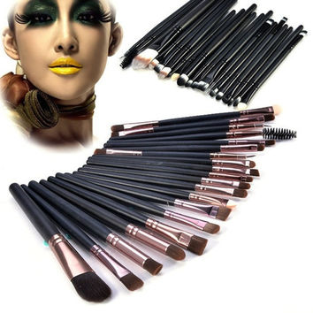 20 Pcs Classic Pro Makeup Set Powder Eyeshadow Eyeliner Lip Cosmetic Brushes Gift + Free Shipping