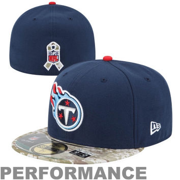 New Era Tennessee Titans Salute to Service On-Field 59FIFTY Fitted Hat – Navy Blue/Digital Camo