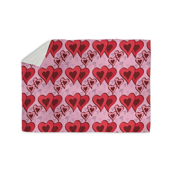 """Mydeas """"Scribbled Hearts Pattern"""" Pink Red Vector Sherpa Blanket"""