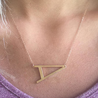 Rose Gold Sideways Initial Necklace - Large Initial Necklace - Letter Necklace -Layering Necklace - Rose Gold Personalized Letter Necklace