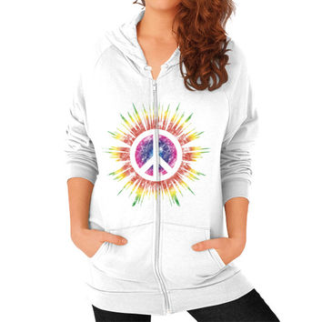 Tie Dye Peace Sign Zip Hoodie (on woman)