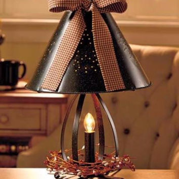 Lamp Tin Rustic Country Punched Gingham Bow Accent  Candle Lantern Primitive NEW