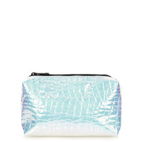 Iridescent Croc Make-Up Bag - Topshop