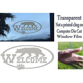 DIY Etched Glass Vinyl Window Films Bear Nature Welcome Front Door Sign Rustic Home Decor FED12