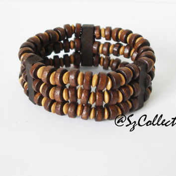Free shipping elastic three strand wooden stack bracelet