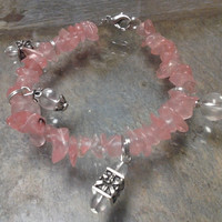 Pink Rose Quartz Chips with Silver Accent Bracelet