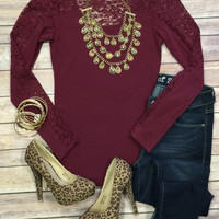Make an Impression Lace Detail Top: Burgundy