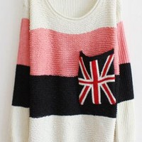 Sweet Round Neck Striped Sweater with Plaid Pocket Pink  S00