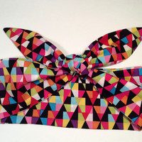 Dolly Headband, Tie-Up Hairband,  Dolly Bow, Multi Color Geometric Print - READY TO SHIP!