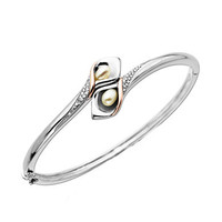 Lord & Taylor Sterling Silver Bangle Bracelet with 14Kt. Rose Gold Pearl and Diamond Accent