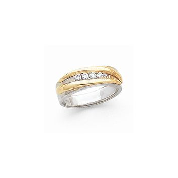 14k Two-tone Gold Diamond Men's Band Ring I1 Clarity and G/I Color