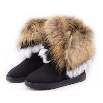 ZLYC Women's Bohemian Winter Furry Boots with Long Fur