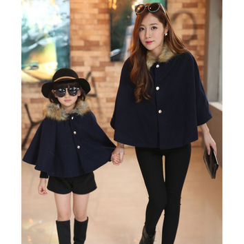 Mommy & Me Matching Coats Ponchos with Fur Collar
