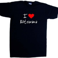 I Love Heart Botswana Black V-Neck T-Shirt