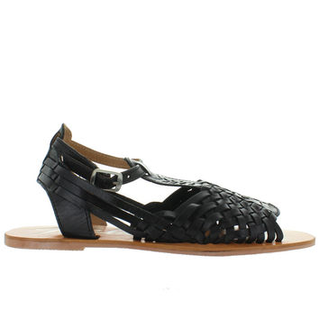 Rebels Nadia-2 - Black Leather Huarache Ankle Strap Flat Sandal