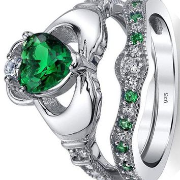 1.25 carats Sterling Silver 925 Heart Shape Claddagh Engagement Ring Wedding Bridal Sets with Green Simulated Emerald Cubic Zirconia
