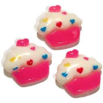 Pink polka dot cupcake resin cabochon 20x18mm / 1-5 pieces