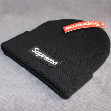 Supreme warm winter hat patch letters wool cap Black