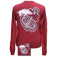 SALE  Arkansas Razorbacks Chevron Achor Bow Girlie Bright Long Sleeves T Shirt