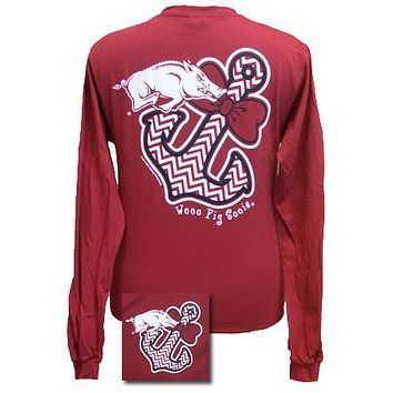 New Arkansas Razorbacks Chevron Achor Bow Girlie Bright Long Sleeves T Shirt