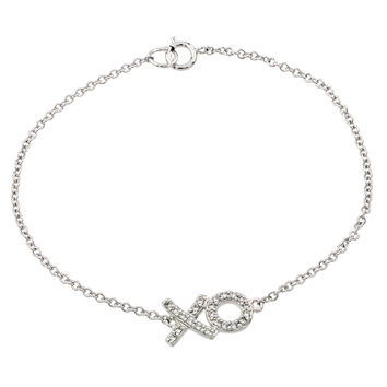 .925 Sterling Silver Rhodium Plated XO Cubic Zirconia Bracelet: SOD