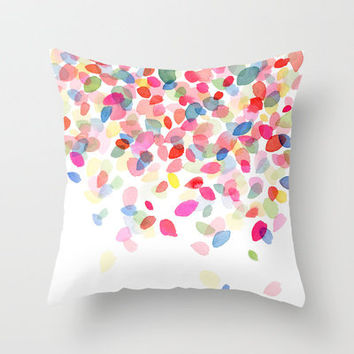 Watercolor Colorful Dots Falling Throw Pillow by Yao Cheng Design