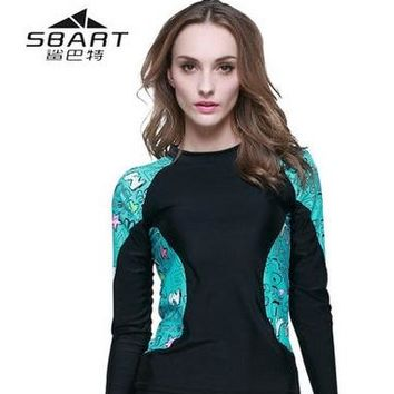 Surfing Surfer Slacker T-shirt women swimming surfing diving equipment long sleeve snorkeling rashguard lycra long sleeve beach shirts uv protection wetsuits KO_12_1