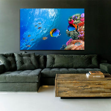 "Canvas Print Artwork Stretched Gallery Wrapped Wall Art Painting Island Sea Ocean Fish Large Size 26x40"" (can17)"