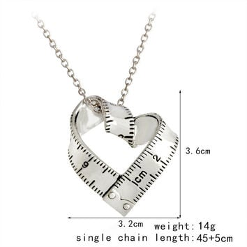 2017 Hotsale Jewelry Heart Ruler Metal Necklace Antique Gold and Antique Silver Color Available Drop Shipping YP3050