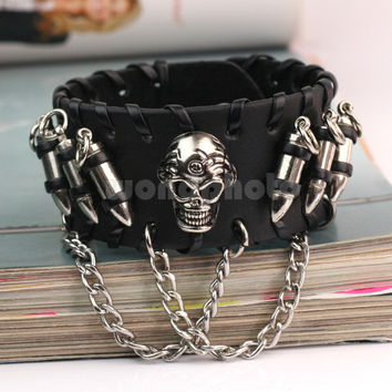 Skull & Bullet Leather Cuff Bracelet Bangle Wristband Gothic Rock Punk Biker Hot