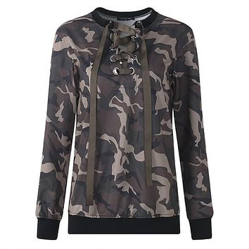 RWL BOUTIQUE Women Hoodie Sweatshirt Sexy Lace Up Club Wear Outwear Plus Size Party Long Sleeve Camo Pullover Hoody Clothes 5XL Autumn Spring