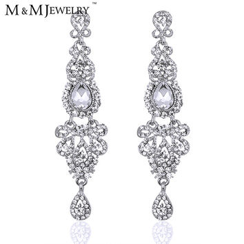 M&MJewelry Romantic Silver Bridal Long Earrings with Crystals for Women Luxury Chandelier Wedding Jewelry Hot Selling EH162