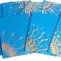 Hand Drawn Note Cards in Ocean Blue - Set of 10 - Envelopes included